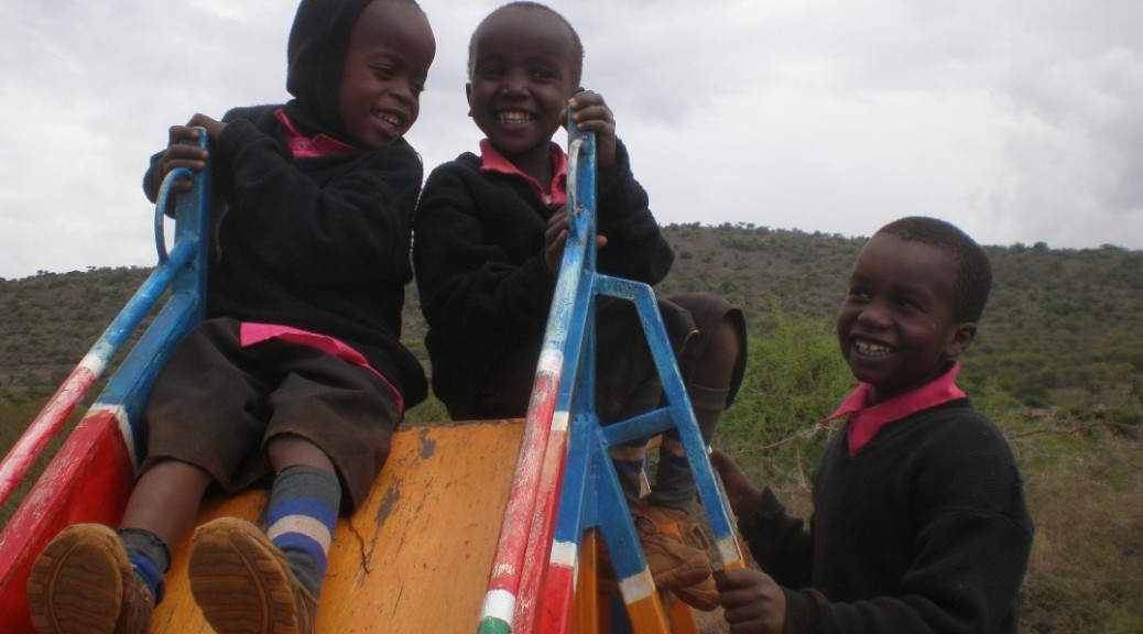 Children on the school slide.