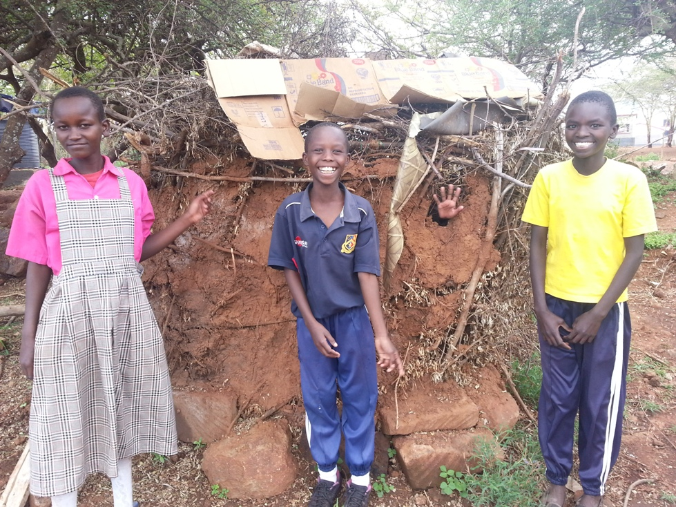 Maasai mud hut built by the children.