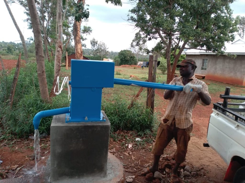 A new 'blue pump' installed at a clinic.