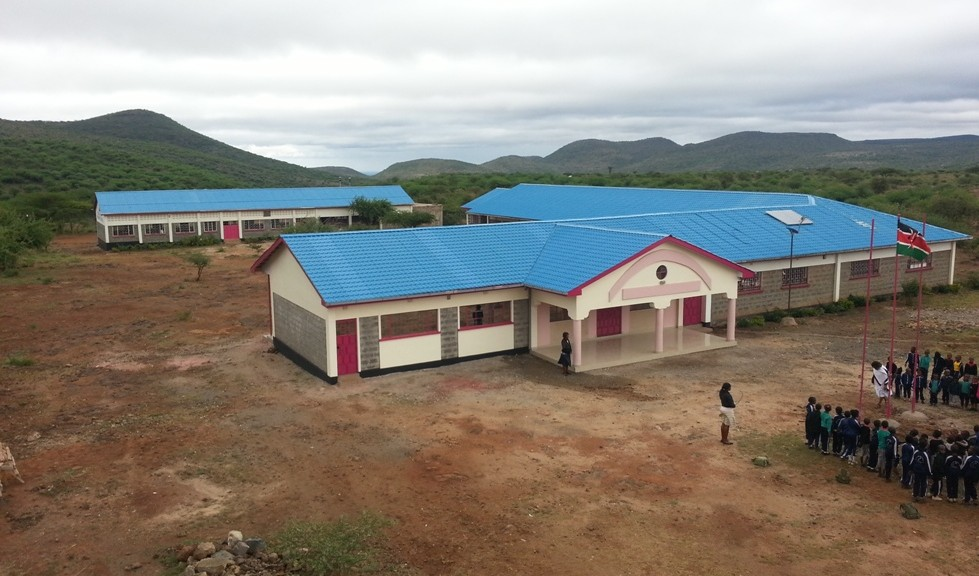 The school layout, with the new building funded by last years' challenges on the front left.
